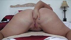 Fat Ass Masturbating with Dildo